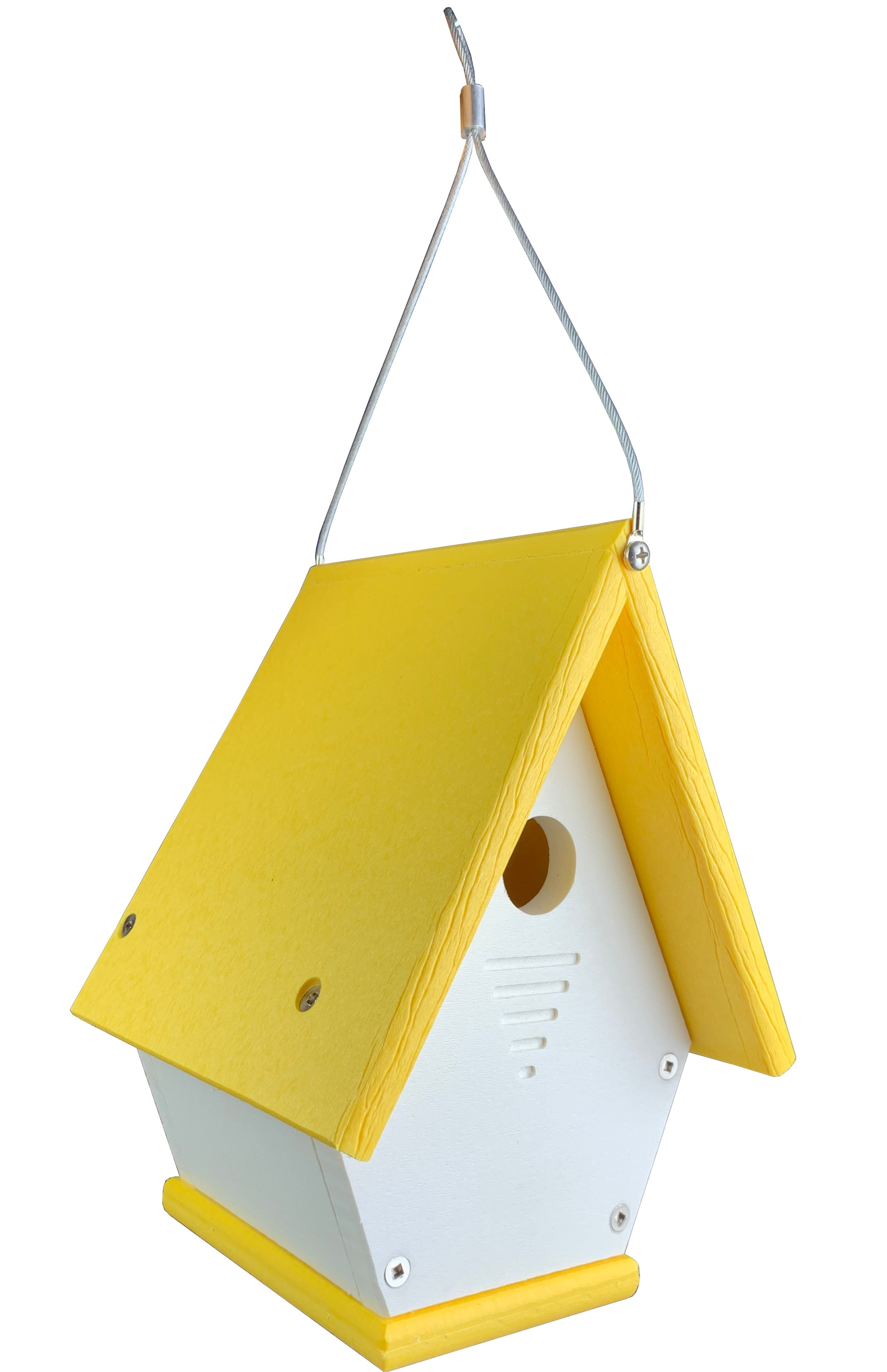 Wren Bird House Chateau All Poly White//Yellow