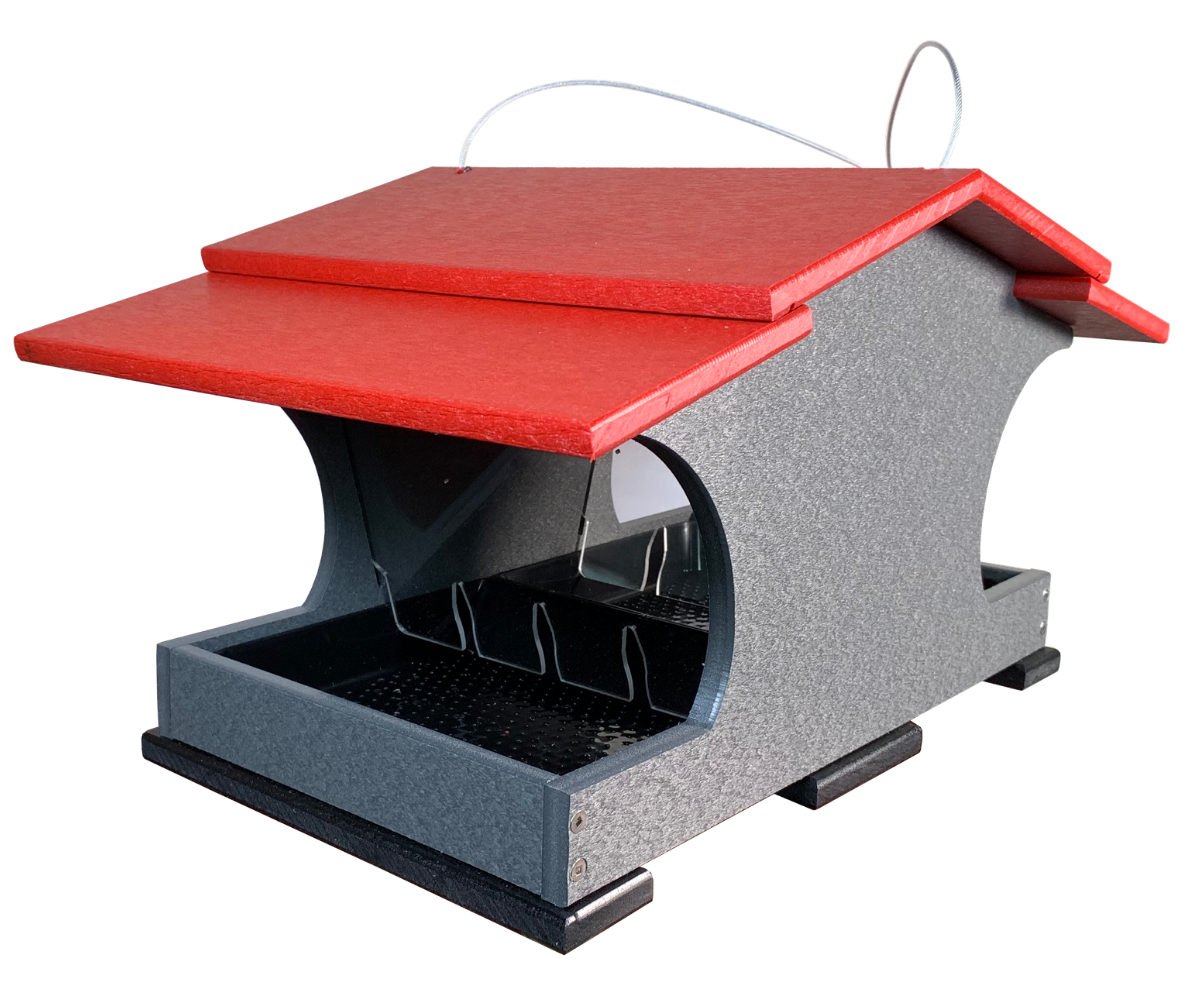 JCs Wildlife Recycled Double Suet Feeder Brown W// Cardinal Red Roof /& Tail